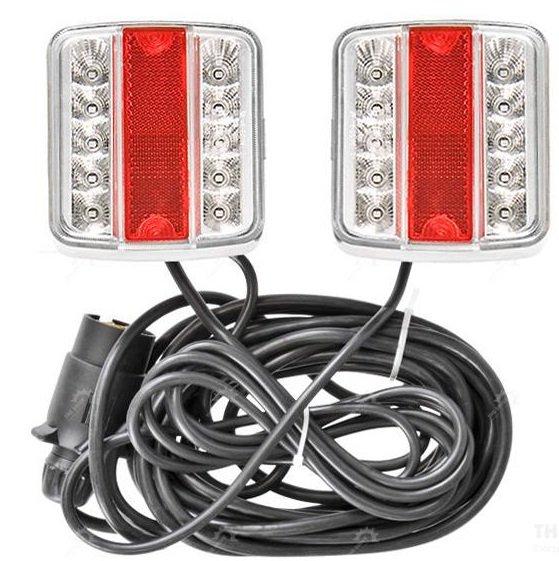 12V LED-Beleuchtung auf Magnet / 4 Funktionen Beleuchtungssatz für PKW Anhänger