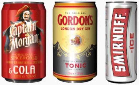 (Aldi Nord) - Alkoholische Mix Getränke (Captain Morgen & Cola, Gordon's Tonic und Smirnoff Ice)