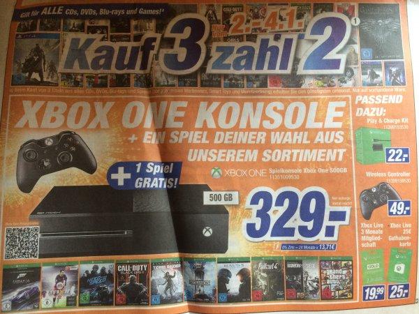 Lokal: Expert Klein XBoxOne 500GB + ein Spiel nach Wahl 329€  + 3 Games kaufen / 2 zahlen