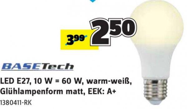 [Conrad] Basetech LED Lampe E27 10W (=60W) warmweiß für 2,50€