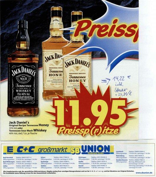 [Lokal] Jack Daniel´s Whiskey  o. Honey Liqueur 11,95€ ohne, mit Mwst. 14,22€ 0,7l Flasche