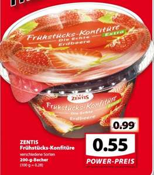 famila-nordwest  ZENTIS Frühstücks-Konfitüre  verschiedene Sorten 200-g-Becher 0,55€ statt 0,99€