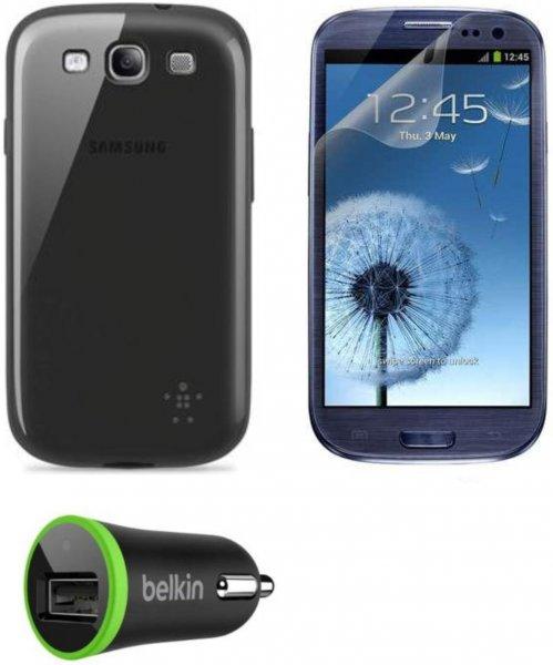 Belkin Aktionsset Samsung Galaxy S3 Zubehör (Schutzhülle, Displayfolie, Autoladegerät) für 5€ bei Amazon (Plus Produkt)