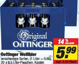 Oettinger Hefeweizen/Weißbier 5,99€