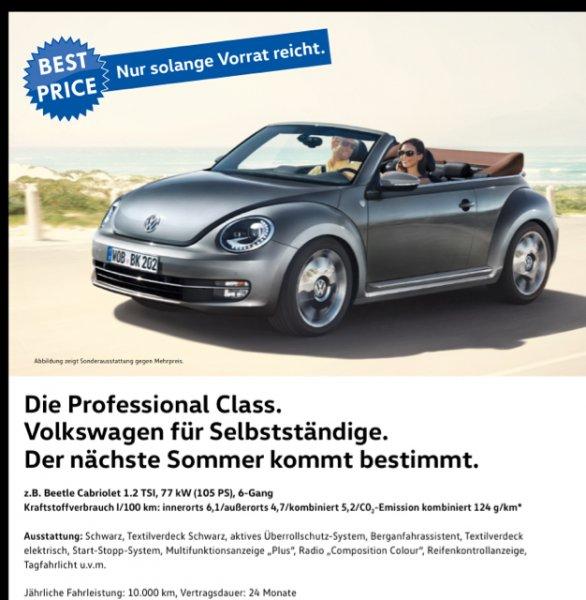 VW Beetle Cabrio Gewerbekunden 99,- mtl.
