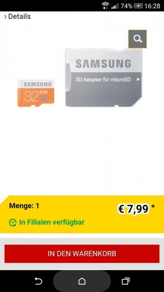 (MediMax) Samsung Evo microSDHC 32GB inkl. Adapter fur 7,99 (Media Markt zieht auf Nachfrage mit)