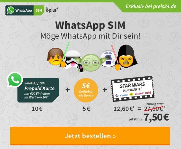 Whats App Sim Karte mit 10 Euro und ein Kinogutschein für 7.50€