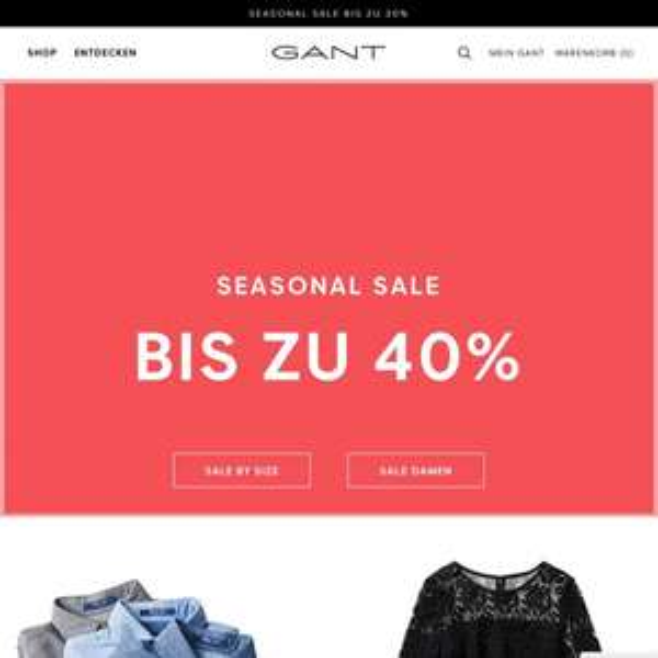 Gant Sale bis zu 40%