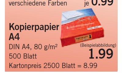 [v-markt] 500 Blatt Druckerpapier  80 g / m² für je 1,99€ Paket oder 5 Pakete im Karton für 8,99€ (Paketpreis dann 1,79€)