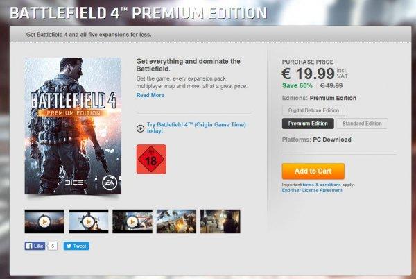 Battlefield 4 Premium Edition 19,99€ auf Origin Weihnachtsdeal