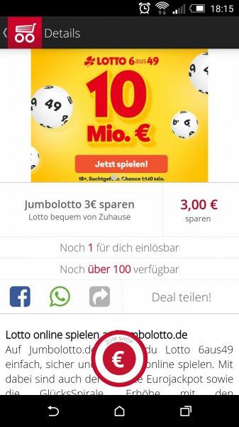 3€ Rabatt bei Jumbolotto über Scondoo - sprich 2 Tippfelder Lotto 6 aus 49 kostenlos (nur für Neukunden)