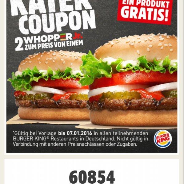 [Burger King] 2 Whopper Junior zum Preis von einem
