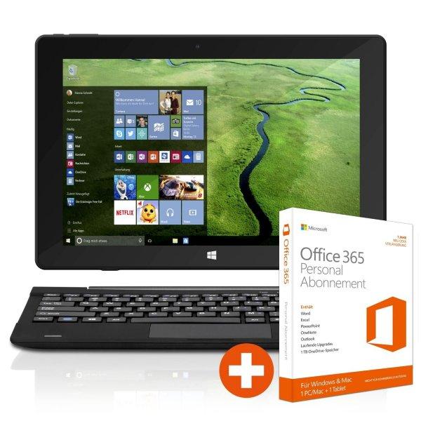TrekStor SurfTab® twin 10.1 2in1 WiFi 32 GB Win 10 schwarz + Office 365 Personal für 159 € @ Cyberport