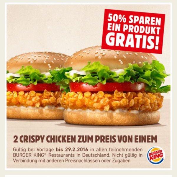 [BURGERKING] 2 Crispy Chicken zum Preis von einem!