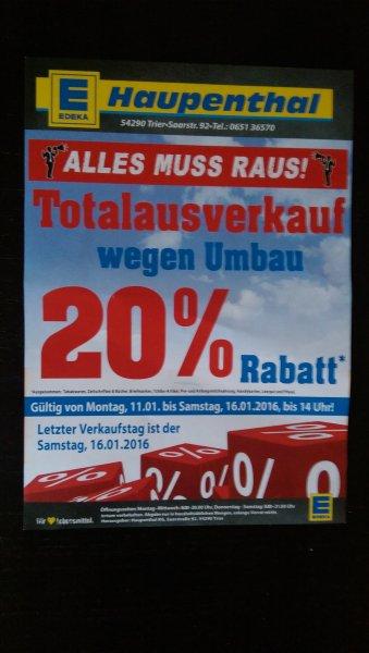 LOKAL TRIER 20% auf Alles bei Edeka Haupenthal (Saarstraße) ab 11.01.2016