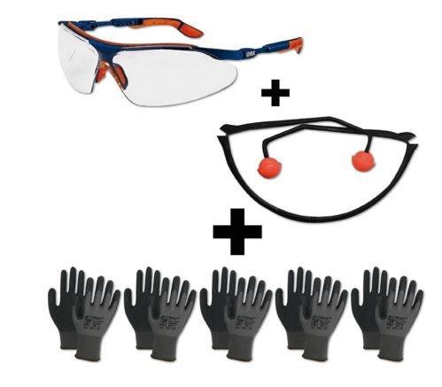Arbeitsschutz Set - Schutzbrille Gehörschutz Handschuhe