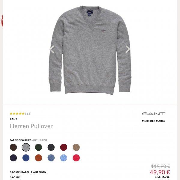 Gant V-Pullover für 49€ statt 119€