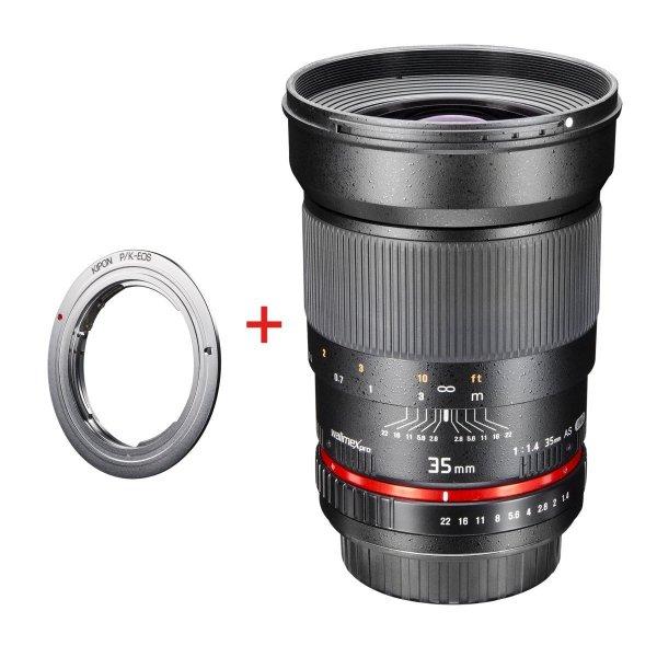Walimex Pro 35/1,4 DSLR Objektiv Pentax K / Canon Eos Adapter