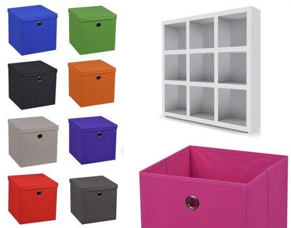 [CM3] Faltbox 28 x 28 x 28 cm Aufbewahrungsbox Faltbar mit und ohne Deckel div. Farben