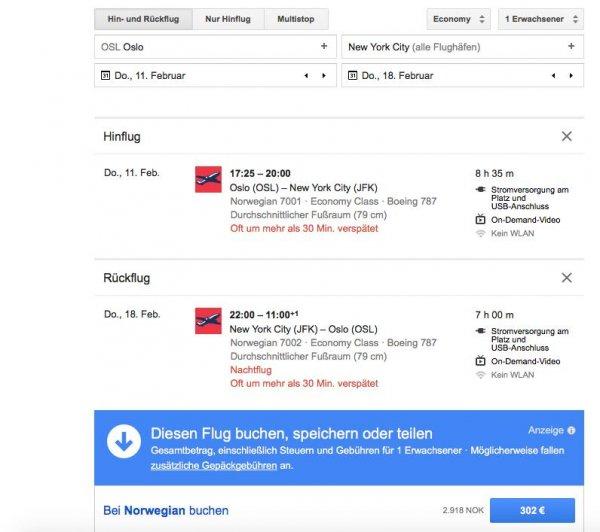 Direktflug von Oslo nach New York im Februar für 302 Euro