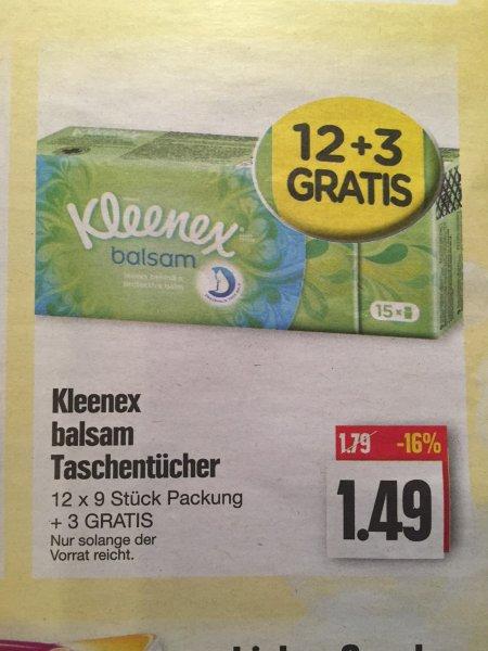 [Edeka] (Nordbayern, Thüringen, Sachsen) Kleenex balsam Taschentücher 15x9er Pack für 1,49€ mit Scoondo nur 0,49€