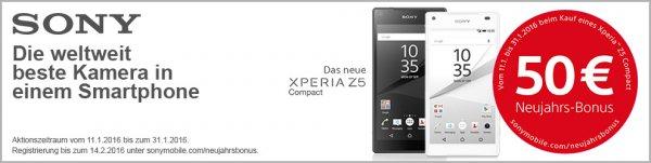 Sony Neujahrsbonus  in Höhe von 50€  beim Kauf eines Xperia Z5 Compact zwischen 11.01 - 31.01