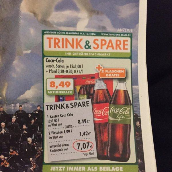 Kasten Cola/Fanta + 2l extra für 8,49€ [trink&spare]