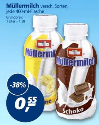 [real,- bundesweit] Müllermilch 400ml - verschiedene Sorten für 0,55€, PVG: 0,89€