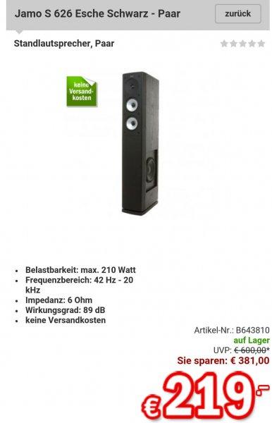 Jamo S 626 Esche Schwarz 219€ (Paar) @redcoon Supersale