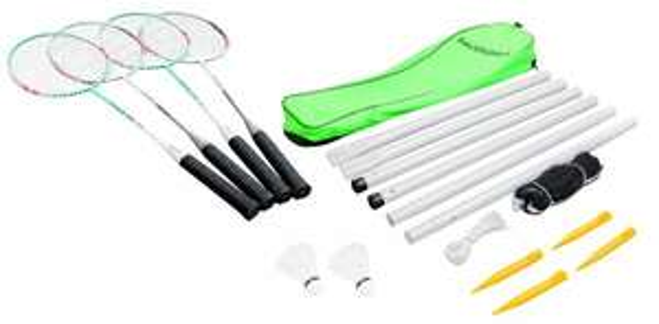 [Amazon Prime] HUDORA Badmintonset Team HD-44, 76413 (4 Schläger, 2 Kork-Federbälle, 1 Netz (610 x 60 cm) 4 Heringe) für 11,44 €