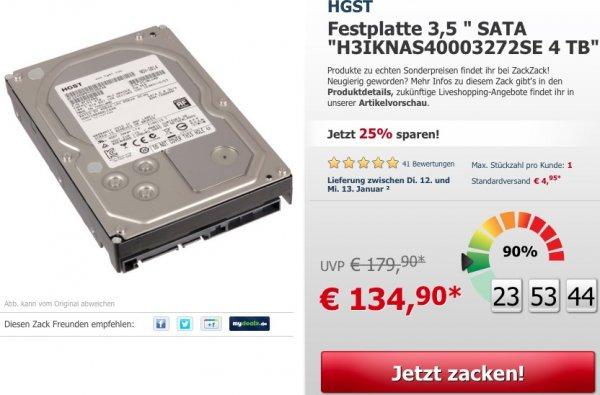 (zack-zack) 4 TB Hitachi H3IKNAS40003272SE Festplatte für NAS (Dauerbetrieb) geeignet für 139,85€ inkl. VSK.