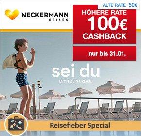 [QIPU] 100 Euro Cashback auf alle Reisen ab 500 Euro bei Neckerman