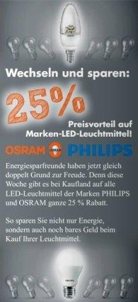 [Offline Kaufland] LED Lampen von Philips und Osram 25% reduziert