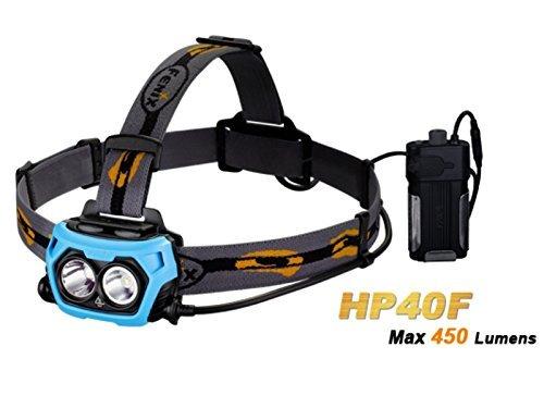 (outdoor-broker.de - Flashsale) Fenix Stirnlampe HP40F (450 Lumen. 4 Leuchtstufen & FlashMode. Akkubox mit Landefunktion)