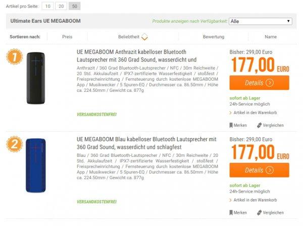 UE Megaboom für 177,- € - versandkostenfrei
