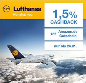 15€ Amazon Gutschein und 1,5% Cashback bei Lufthansa Flugbuchung