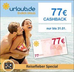[Qipu] Urlaub.de 77€ Cashback + 77€ Gutschein (=154€) für Pauschalreisen ab 1.000€