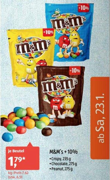 [Aldi-Süd] m&m's +10% (Crispy 235g, Chocolate 275g, Peanut 275g) für jeweils 1,79€ am Samstag 23.01.2016