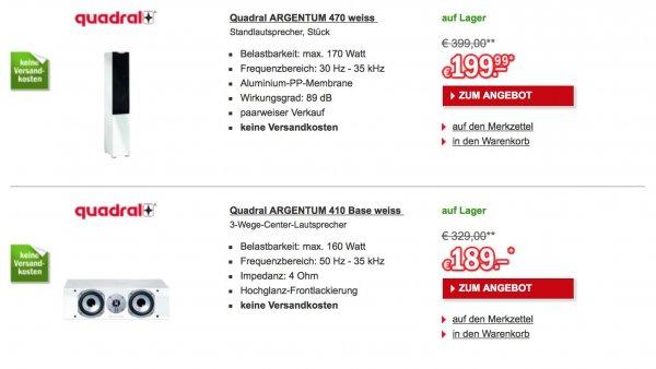 [Redcoon] Quadral Argentum 410 Base Center für 189€ oder 470 Standlautsprecher für 199,99€/Stück (nur paarweiser Verkauf)