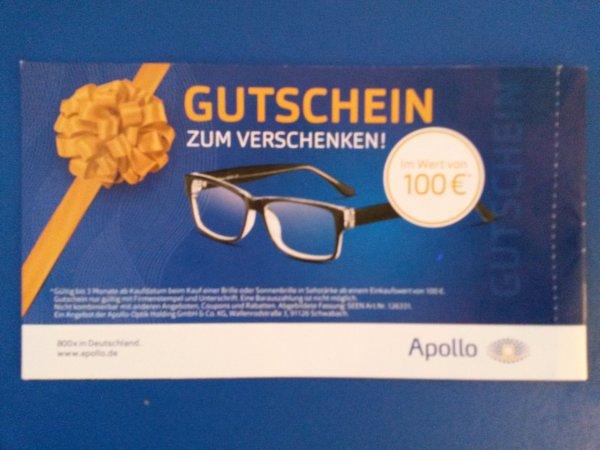 2 Brillen mit geschliffenen Gläsern ab 0€ bei Apollo - Gutschein-Hack