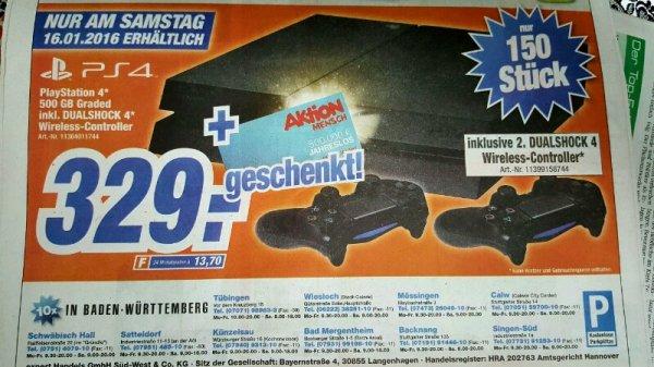 Playstation 4 mit 2. Controller für 329€ (Expert Tübingen)