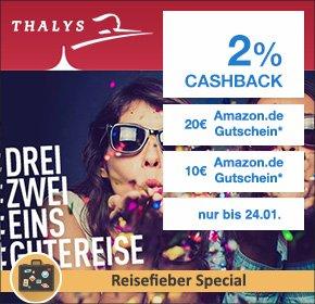 Thalys: 2% Cashback + 10€ Amazon.de Gutschein* (bei 49€ MBW) und 20€ Amazon.de Gutschein* (bei 89€ MBW) auf deine Zugbuchung