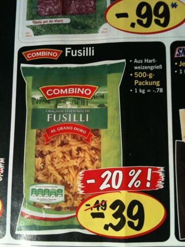 500g Fusilli Nudeln für 0,39€ ab Donnerstag @ LIDL