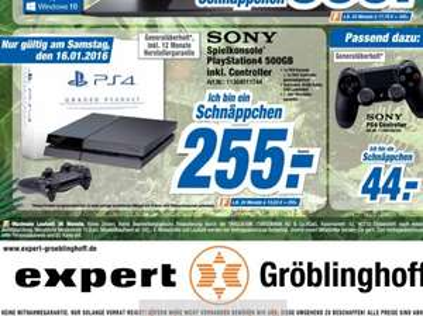 PlayStation 4 (500GB; inkl. Controller) für 255€ bei Expert am 16.01 *Generalüberholt