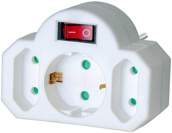 [Amazon Plus Produkt] Brennenstuhl Adapterstecker Euro 2 + Schutzkontakt 1 weiß mit Schalter für 3€