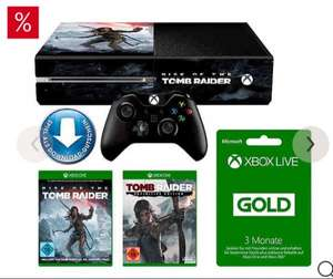 [Otto Neukunden] Xbox One 1TB + Rise of Tomb Raider + Tomb Raider:Definitive Edition + 3 Monate Xbox Live Konsolen-Set | 24 Monate Garantie | Gratis Tomb-Raider Design-Folie