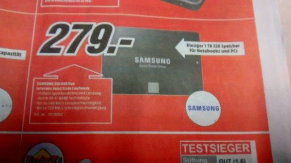 [MediaMarkt bundesweit + online] Samsung SSD 850 Evo 1TB für 279€