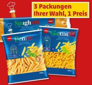 22.01/23.01.2016 PENNY FRamstag Nudeln 3x500g = 1,15€ (kg/0,77€ - 500g-Packung = 0,39€)