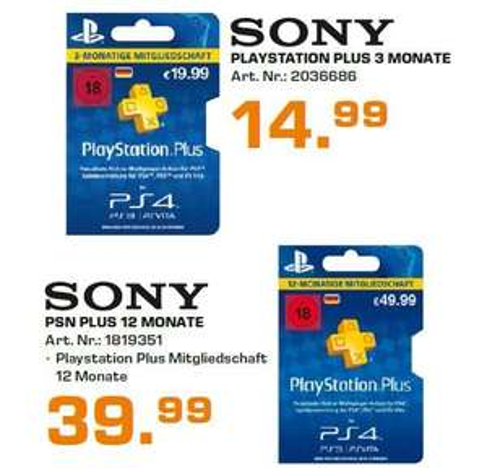 PSN Plus (Sony Playstation Plus) für 12 Monate @ Saturn Hamburg