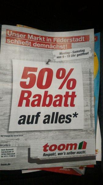 toom Baumarkt Filderstadt 50% Rabatt auf alles